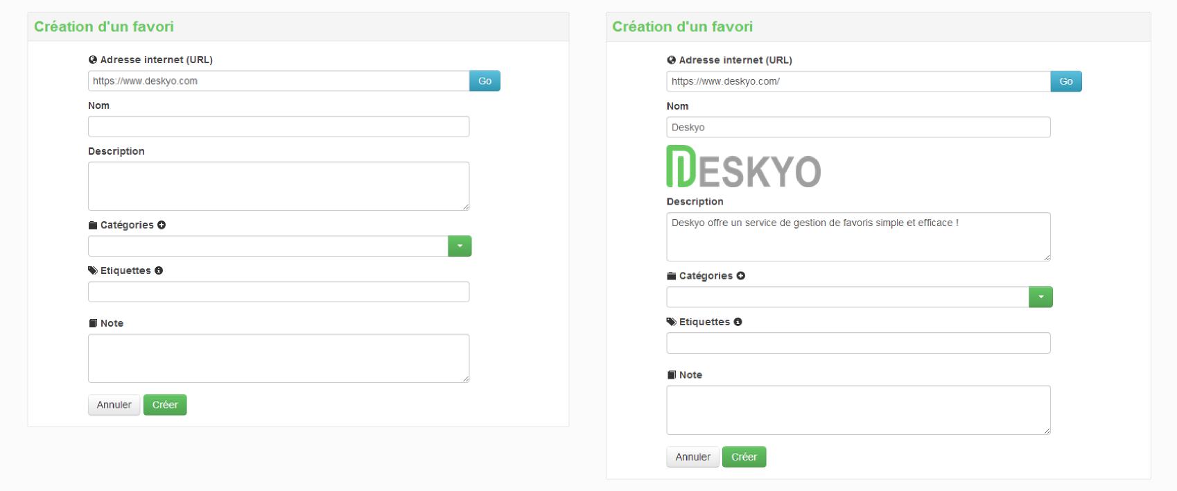 Deskyo - Création de favori avec pré-remplissage