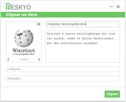 Deskyo : Clipser un item avec le Bookmarklet
