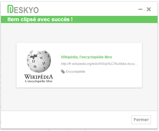 Deskyo : item clipsé avec le Bookmarklet